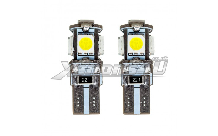 W5W T10 501 5 SMD 5050 LED Canbus Wedge Bulbs