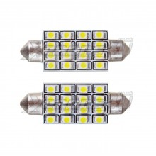 42mm C10W 16 SMD LED Canbus Festoon Bulbs White