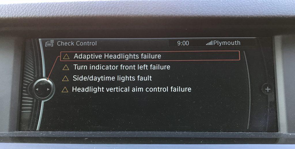headlight vertical aim control failure